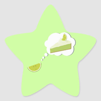 Lime slice thinking of pie star sticker