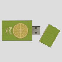 Lime Slice Wood Flash Drive