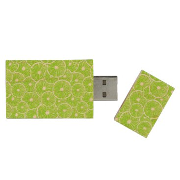 Beach Themed Lime slices pattern wood USB flash drive