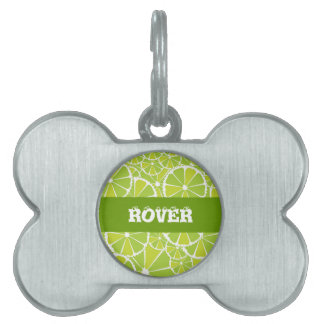 Lime slices pet name tag