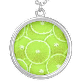 Lime slices silver plated necklace