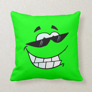 Lime Smiling Face in Shades Throw Pillow