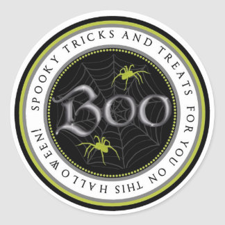 Lime Spider Web Halloween Favor Stickers