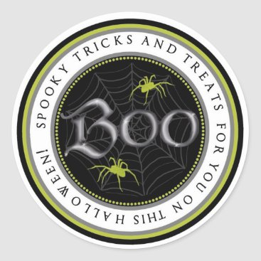 Halloween Themed Lime Spider Web Halloween Favor Stickers