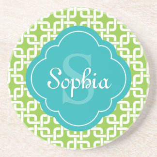 Lime Square Chain Pattern Teal Monogram Drink Coaster