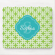 Lime Square Chain Pattern Teal Monogram Mouse Pad