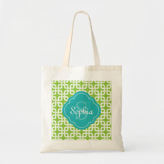 Lime Square Chain Pattern Teal Monogram Tote Bag