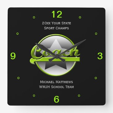 Beach Themed Lime Star Coach Name and School Square Clock