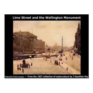 Lime Street; the Wellington Monument - Liverpool. Postcard