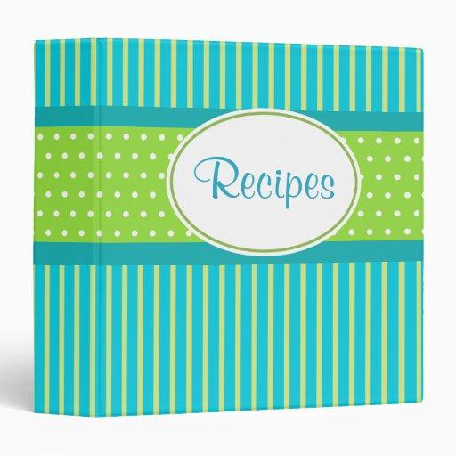 Lime Stripes Recipe Binder
