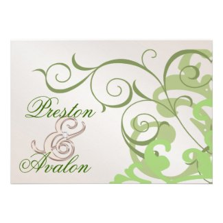 Lime Swirl Champagne Horizontal Invitation