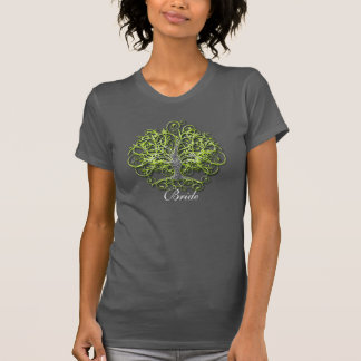 Lime Swirl Tree Roots of Love Wedding T-Shirt