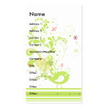 lime swirly bird vector business cards