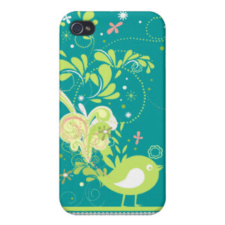 lime swirly bird vector case for iPhone 4