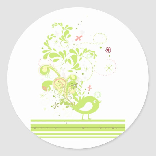 lime swirly bird vector classic round sticker