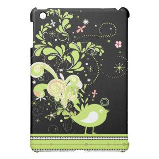 lime swirly bird vector iPad mini case