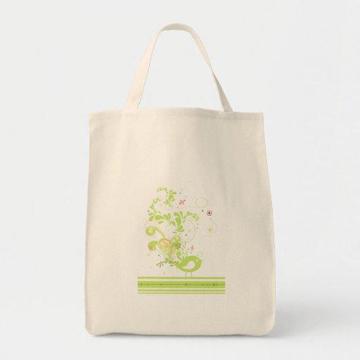 lime swirly bird vector tote bag