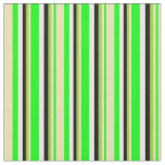 [ Thumbnail: Lime, Tan, Green, Black, and White Stripes Fabric ]