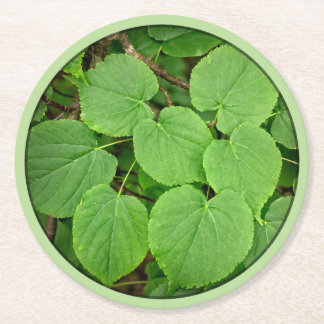 Lime tree leaves round paper coaster