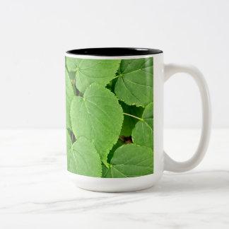 Lime tree leaves Two-Tone coffee mug