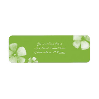 Lime Tropical Watercolor Flowers Address Labels