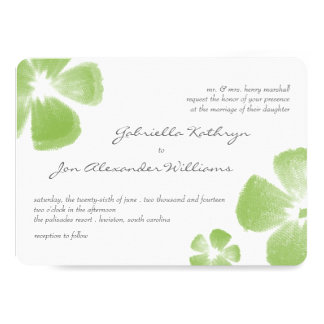 Lime Tropical Watercolor Flowers Wedding Invite