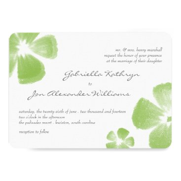 Beach Themed Lime Tropical Watercolor Flowers Wedding Invite