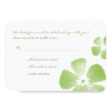 Beach Themed Lime Tropical Watercolor Flowers Wedding RSVP Card