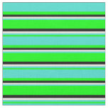 [ Thumbnail: Lime, Turquoise, Beige & Black Lines Fabric ]