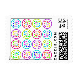 lime, turquoise, lilac and rose circle patterns postage
