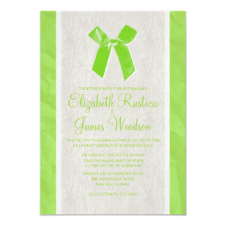 Lime Vintage Bow & Linen Wedding Invitations
