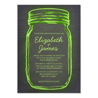 Lime Vintage Mason Jar Wedding Invitations