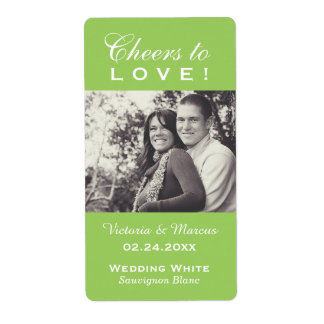 Lime Wedding Photo Wine Bottle Favor Labels
