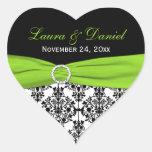 Lime, White, and Black Damask Heart Shape Sticker