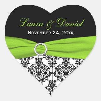 Lime White and Black Damask Heart Shape Sticker