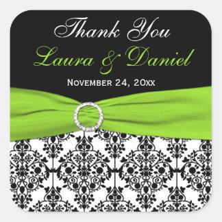 Lime, White, and Black Damask Wedding Favor Square Sticker