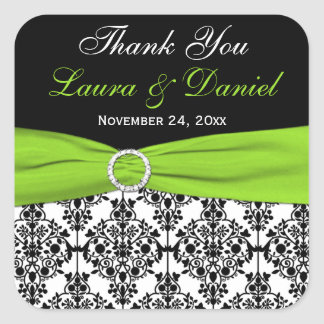Lime White and Black Damask Wedding Favor Stickers