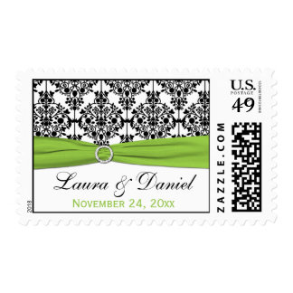 Lime, White, and Black Damask Wedding Postage