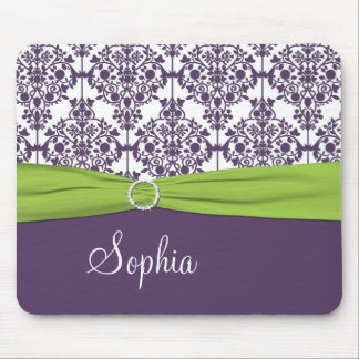 Lime, White, and Purple Damask Mousepad