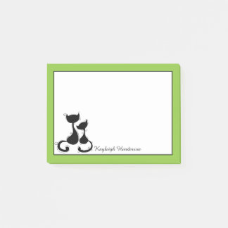 Lime White Black Cats Silhouette Personalized Post-it Notes
