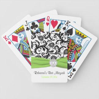 Lime White Black Damask Bat Mitzvah Playing Cards