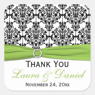 Lime White Black Damask Wedding Favor Sticker