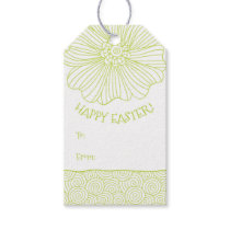 Lime White Flower Swirls Easter Gift Tags