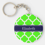 Lime White Moroccan #5 Navy Blue Name Monogram Key Chain