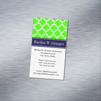 Lime White Moroccan #5 Navy Blue Name Monogram Magnetic Business Cards (Pack Of 25)