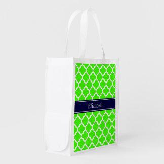 Lime White Moroccan #5 Navy Blue Name Monogram Reusable Grocery Bag