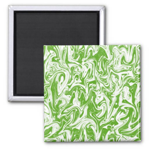 Lime & White Swirl 2 Inch Square Magnet