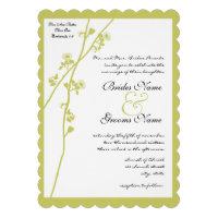 Lime Wild Flower Branch Wedding Invitation