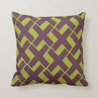Lime with Dark Purple Xs Throw Pillow