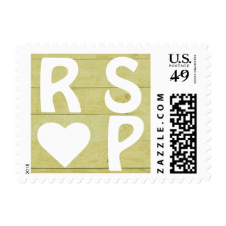 Lime Wood Panel White Heart RSVP Postage